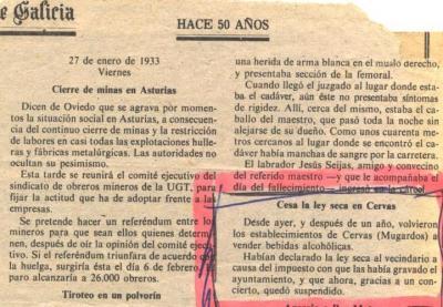 27-01-1933  /  CESA LA  LEY  SECA  EN CERVAS  (Ares), hace 74 años